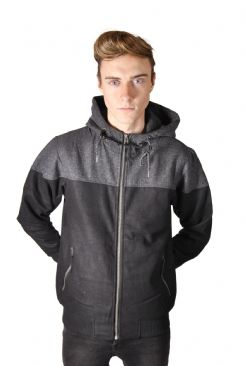 Mens Wool Mix Bomber with Tweed Detailing